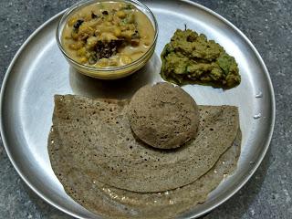 Pearl millet Dosa and Idli, Green Lima beans kurma, Cilantro Mint Chutney