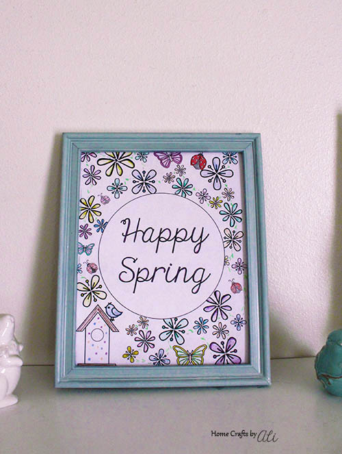 framed spring coloring page used in decor