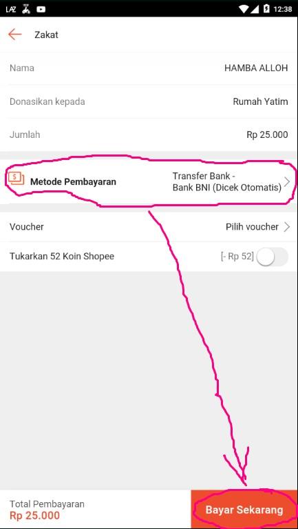 Memilih Metode Pembayaran Zakat di Marketplace Shopee.