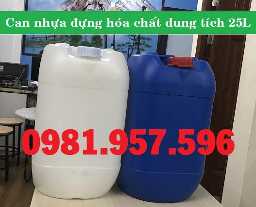 Can nhựa đựng hóa chất 25L, can nhựa HDPE nguyên sinh 25L