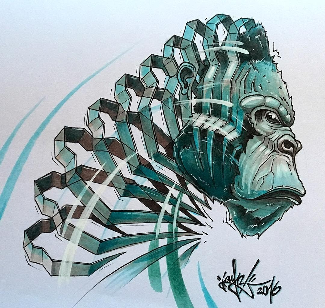 01-Gorilla-JAYN-ABS-Crew-Slice-Animal-Portraits-Stylised-Looks-www-designstack-co