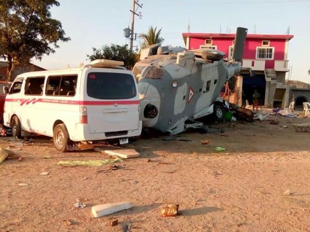 Fotografías de el helicoptero y autos destruidos tras desplome donde iba el Gobernador y Secretario