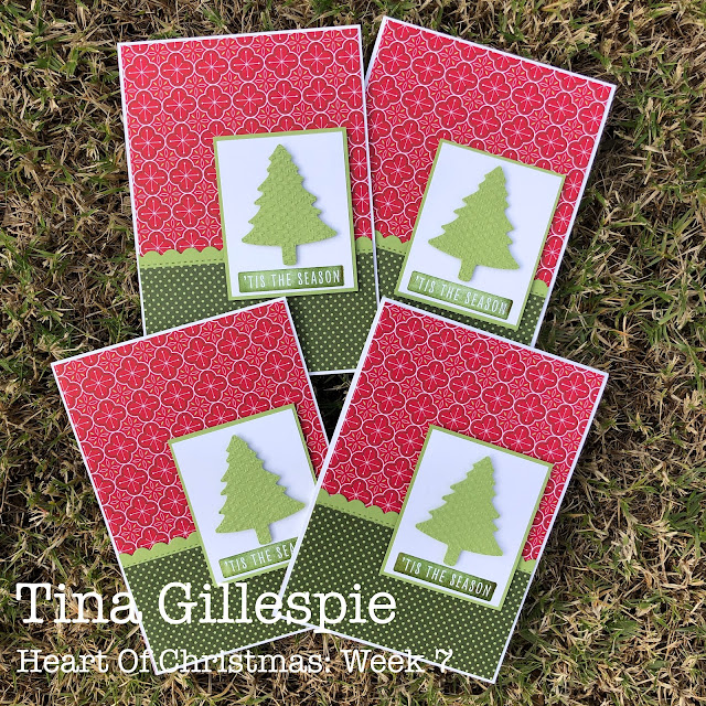 scissorspapercard, Stampin' Up!, Heart Of Christmas, Christmas To Remember, Heartwarming Hugs, Penned Flowers Dies, Tasteful Textile 3DEF, Pine Tree Punch, Christmas Card, Sheetload Of Cards