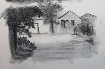 charcoal sketch farm rural