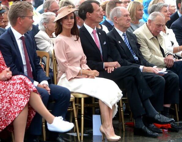 Princess Marie wore Goat Fashion Gaynor pencil dress. Princess Marie wore a pink bell sleeves pencil dress by Goat Fashion