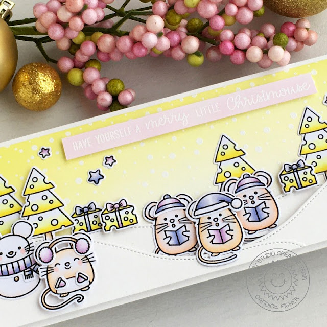 Sunny Studio Stamps: Merry Mice Woodland Borders Frosty Flurries Christmas Card by Candice Fisher