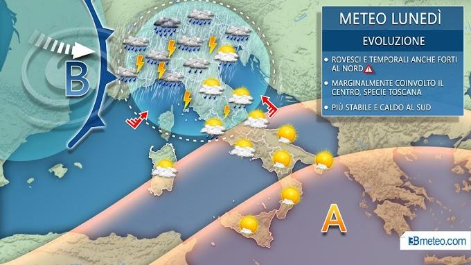 3Bmeteo: ''Prossima settimana movimentata tra forti temporali e ondata di caldo africana''