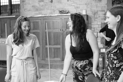 In rehearsal for Mozart's The Garden of Disguises at the Ryedale Festival: Alice Privett (Sandrina), Clare Tunney (Arminda), Anna Harvey (Ramiro)