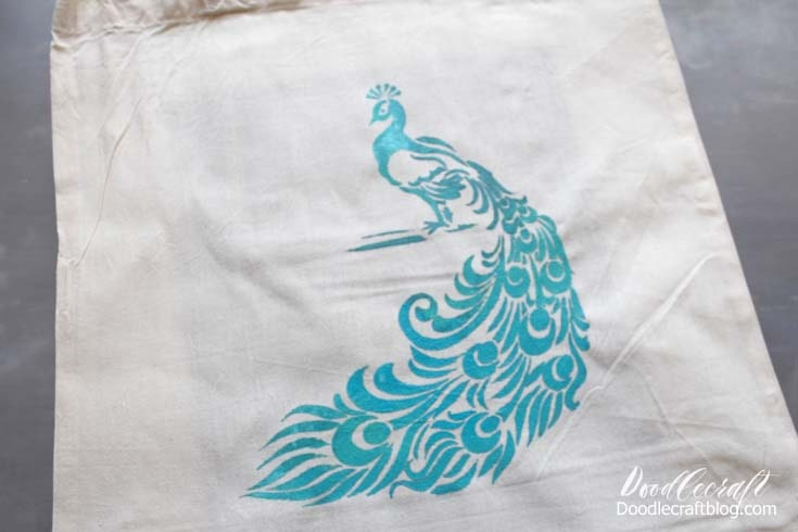 Repeat the same steps as the tote bags previously and then let the peacock dry.