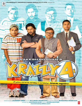 Poster Of Krazzy 4 2008 Hindi 400MB DVDRip 720p ESubs HEVC Watch Online Free Download downloadhub.in