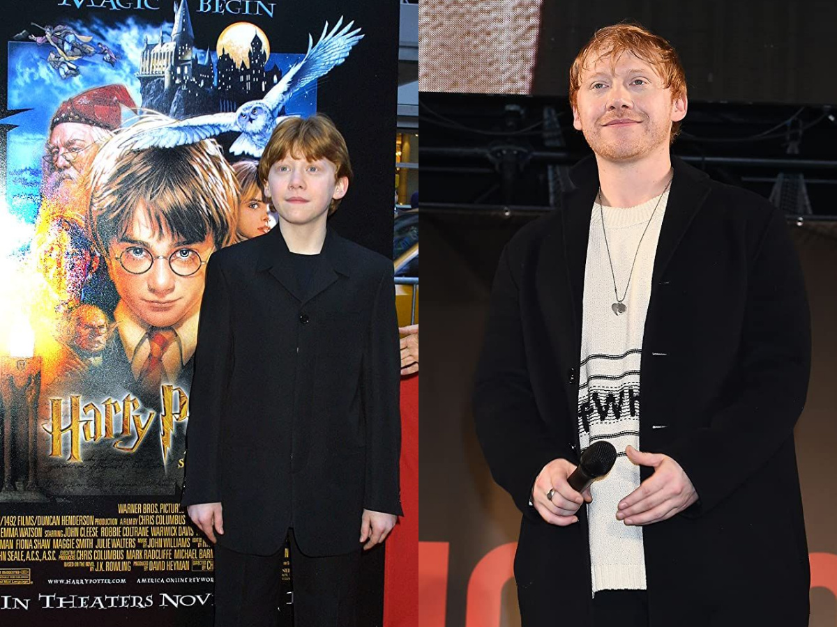 Rupert Grint in 2001 and 2020
