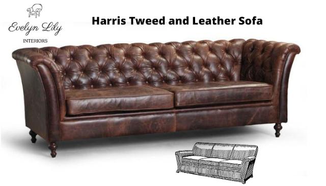 Harris Tweed And Leather Sofa
