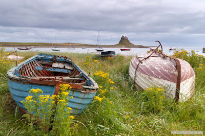 Holy Island harbour boats