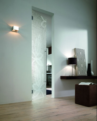 Glass matte pendulum door with a stylish sandblasted pattern