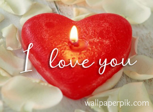 heart shappe candle i love you photo wallpaper
