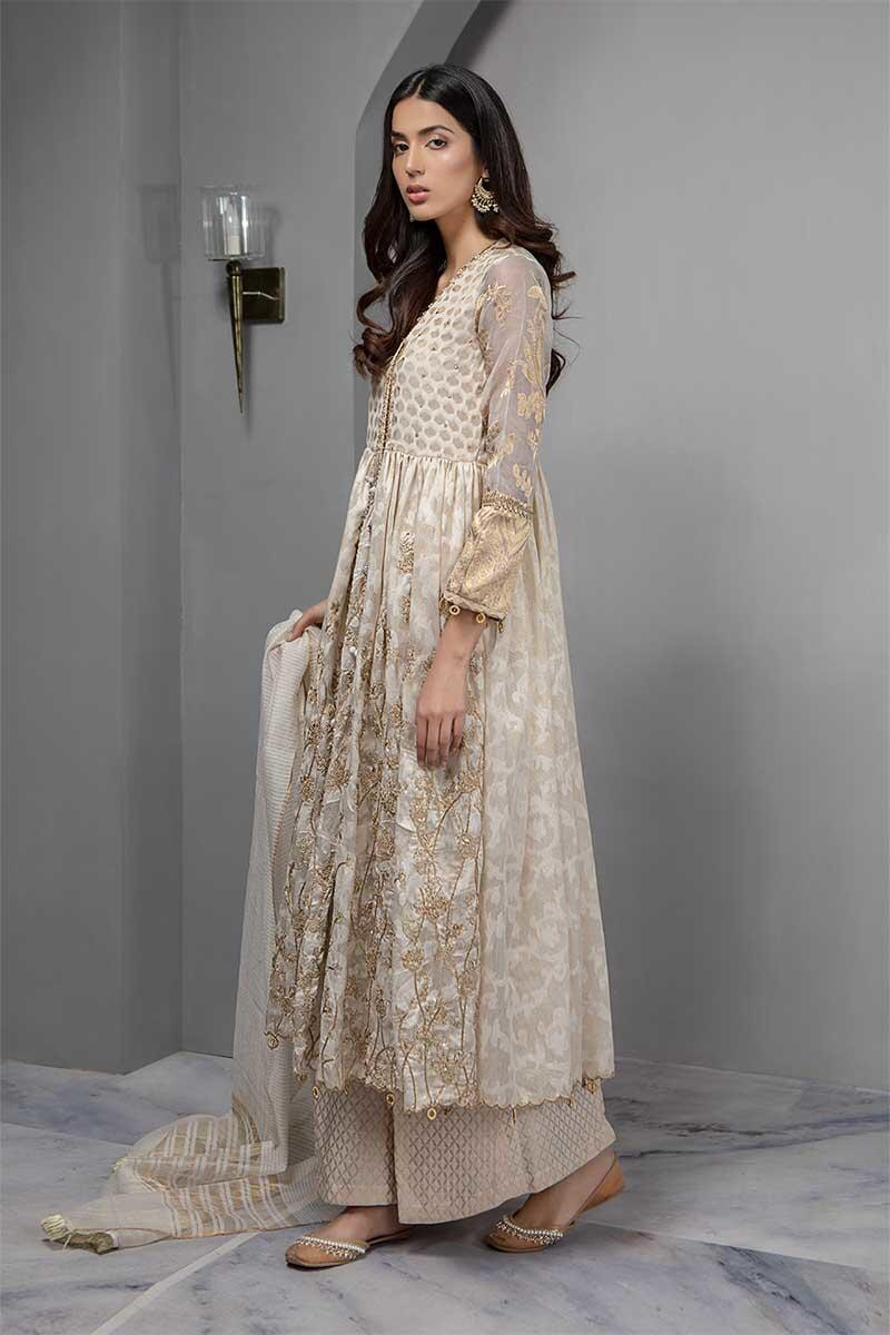 651ce13522 3 pieces. Shirt, Undershirt and Trouser Self Zari cotton jacquard fully  embroidered long anghrakha. Embroidered sleeves. Embellished neckline with  dori ...