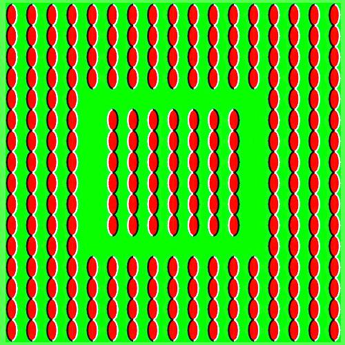 Yeşil bir arkaplan üzerinde boğumlu çizgilerden oluşan iç ve dış kareler farklı yönlere kayıyor