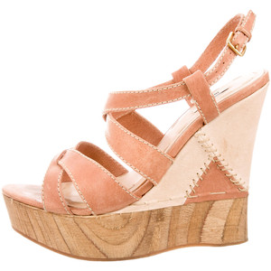 Miu Miu Platform Wedges in Peach