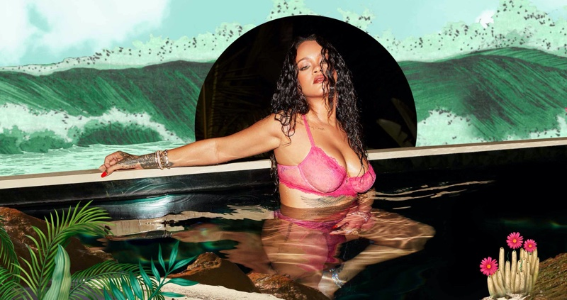 Designer Rihanna poses for Savage x Fenty High Summer 2020 lingerie campaign.