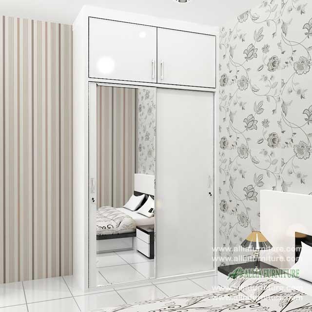 lemari pakaian minimalis 2 pintu sliding model NS