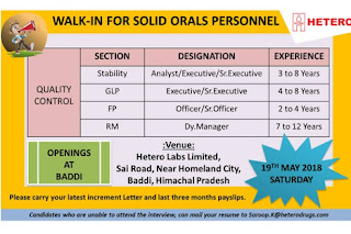 HETERO LABS LIMITED  Walk In Interview For Executive, Sr.Executive, Officer, QC Dy. Manager At 19   May