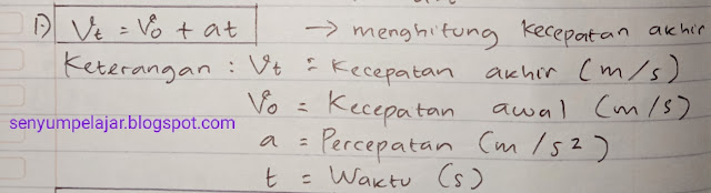 Rumus gerak lurus berubah beraturan 1