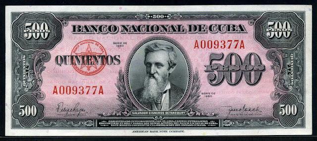 Cuba banknotes Currency 500 Cuban Pesos banknote bill