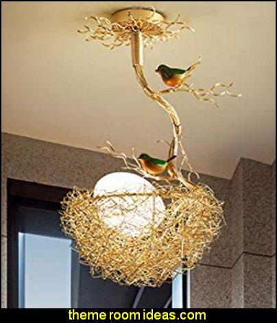 Nest Chandelier Light Pendant Lamp with Bird Accents