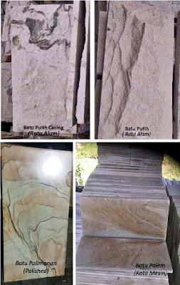 Contoh Gambar Batu Putih Cacing, Batu Putih Rata Alam, Palimanan Poles (Pholished) & Palem Rata Mesin (RTM) untuk Templek Dinding Rumah Minimalis