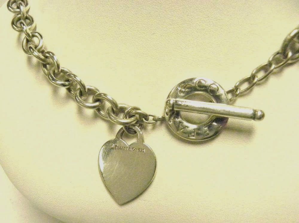 TIFFANY & CO 925 STERLING SILVER HEART TAG TOGGLE ROLO ...