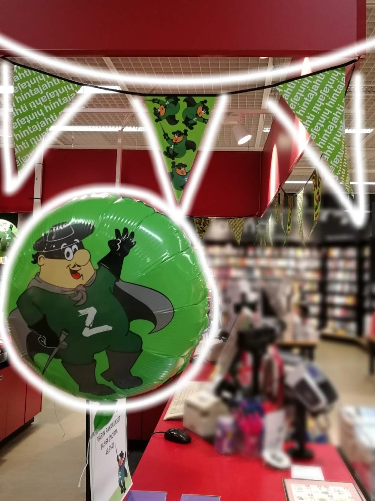hinta jahti suomalainen kirjakauppa plaza viiri ilmapallo