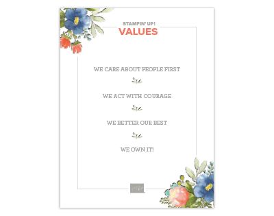 Stampin' Up - our values