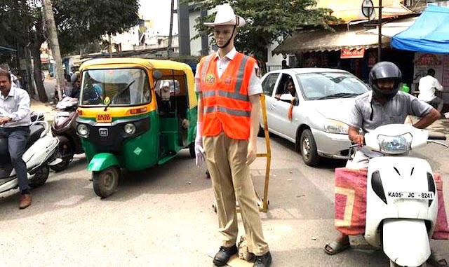 Artificial dressed mannequins traffic cops in Bengaluru