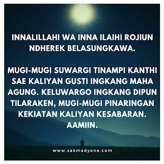 Ucapan belasungkawa dalam Bahasa Jawa Krama