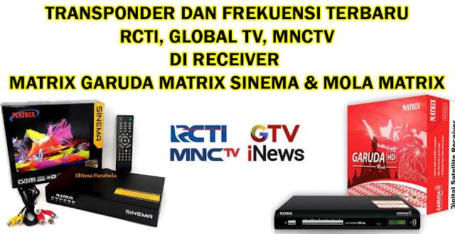 Transponder Frekuensi RCTI Global TV MNCTV Telkom 4 Matrix Garuda dan Matrix Sinema Mola Matrix FTA C-Band Terbaru 1 Agustus 2020