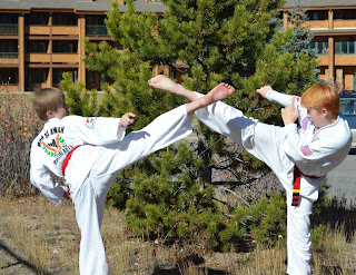 Martial arts red belts crossing roundhouse kicks