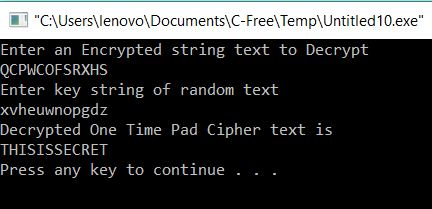 All C Programs: Program 230:Decryption of One Time Pad in C