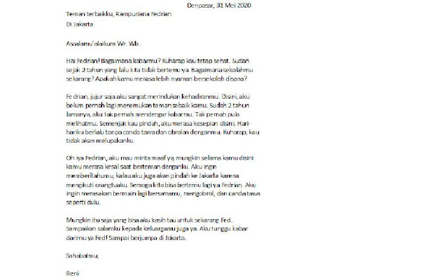 Contoh Surat Pribadi untuk Teman Sekelas (via: brainly.co.id)
