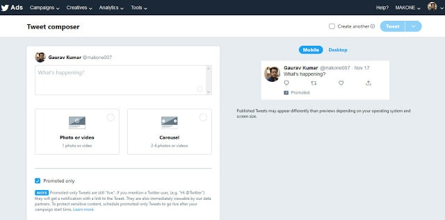 Tweet Composer page with Carousel adoption: eAskme
