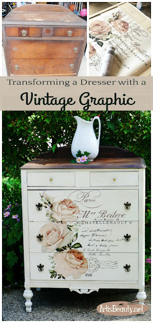 transforming a dresser with a vintage graphic redesign by prima french transfer