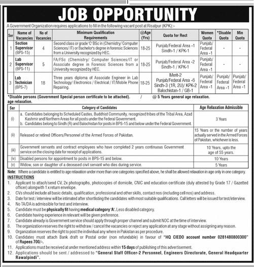 Government Organization Jobs In KPK 2021 - DAE Diploma Jobs 2021 - Intermediate Degree Jobs 2021 - Latest KPK Jobs 2021