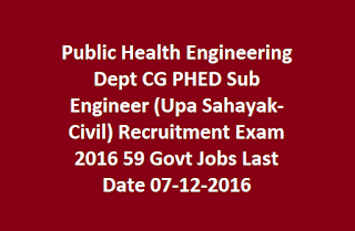 Public Health Engineering Dept CG PHED Sub Engineer (Upa Sahayak-Civil) Recruitment Exam 2016 59 Govt Jobs Last Date 07-12-2016