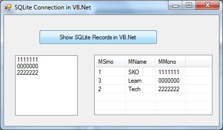 SQLIte Connect With VB.Net