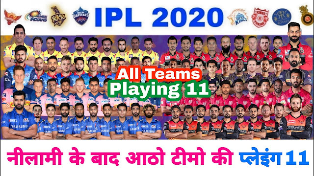 IPL 2020- All Team Final playing 11 and scored after IPL Auctions.