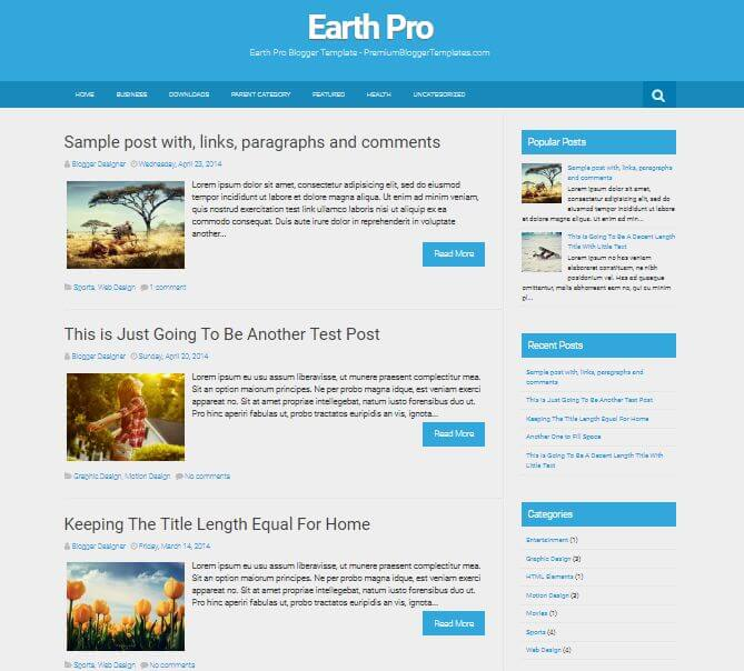 Earth Pro Free Blogger Template