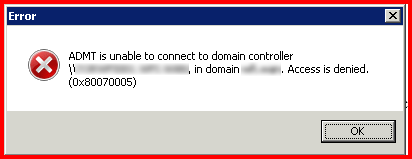 Clint Boessen's Blog: ADMT is unable to connect to domain controller