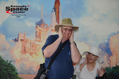 Resident Astronomers pose for photo at Kennedy Space Center in April 2014, beware of hearing damage due to rocket blast  (Source: Palmia Observatory)