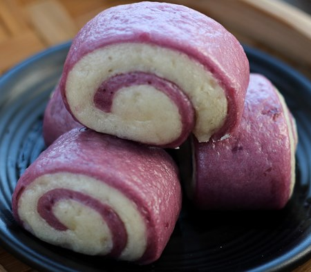 Chinese Purple Sweet Potato Buns #dimsum #breakfast