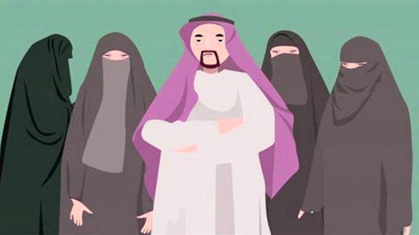 صورة لرجل عربي وخلفه زوجاته الأربع اللاتي ترتدين الخمار جمعيهم