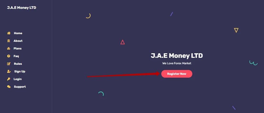 Регистрация в J.A.E Money